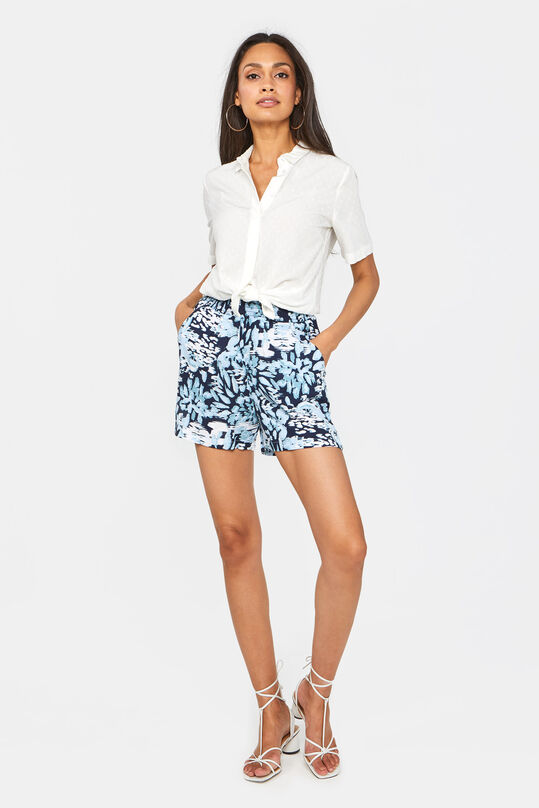Dames mid waist short met smokwerk All-over print