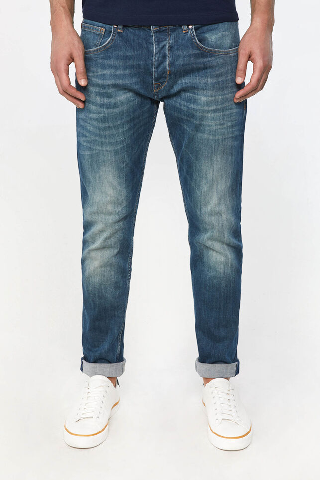 Heren tapered fit super stretch jeans Blauw