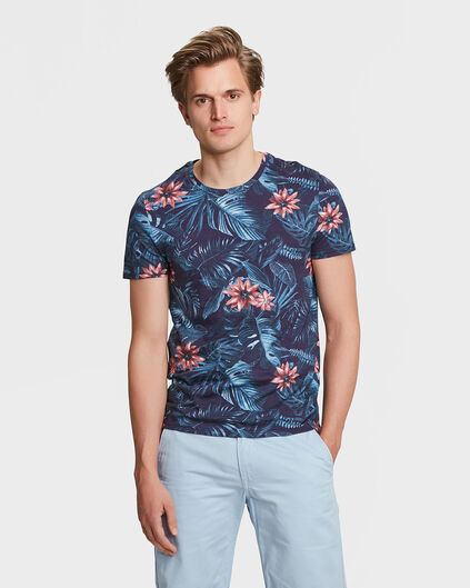 HEREN FLOWER PRINT T-SHIRT Marineblauw