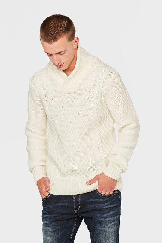 HEREN CABLE KNIT TRUI Wit