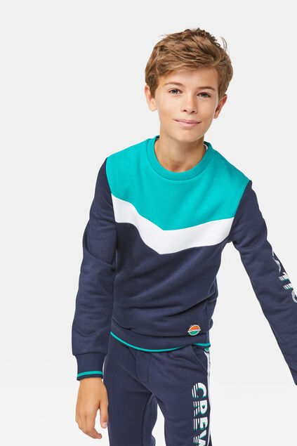 Jongens colorblock sweater Marineblauw