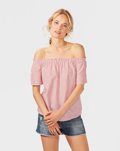 DAMES GESTREEPTE OFF SHOULDER TOP Rood