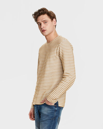 HEREN STRIPED SWEATER Goud