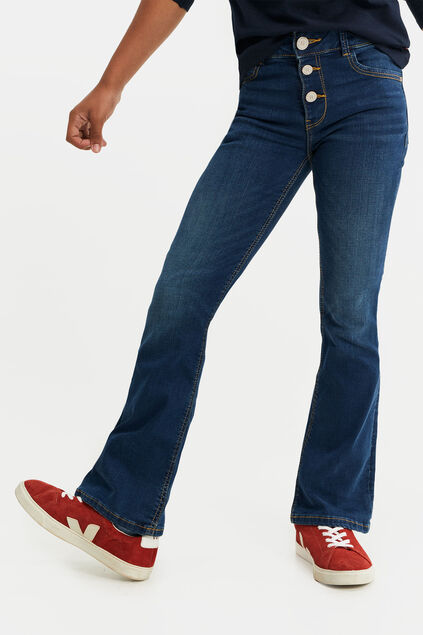 Meisjes flared jeans met knoopdetail Donkerblauw
