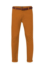 Heren slim tapered effen chino_Heren slim tapered effen chino, Kaneelbruin