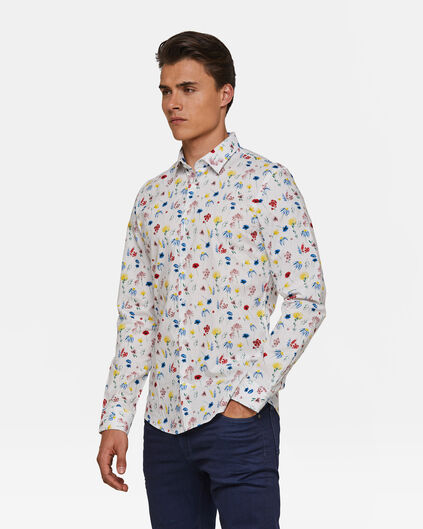 Heren slim fit bloemendessin overhemd Wit