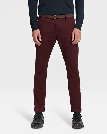 HEREN SKINNY FIT CHINO Bordeauxrood