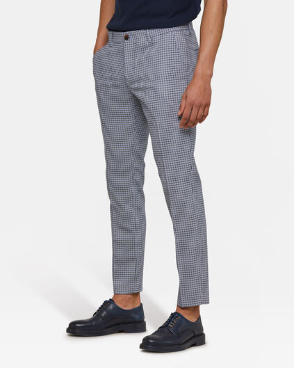 Heren slim fit geruite pantalon Lichtblauw