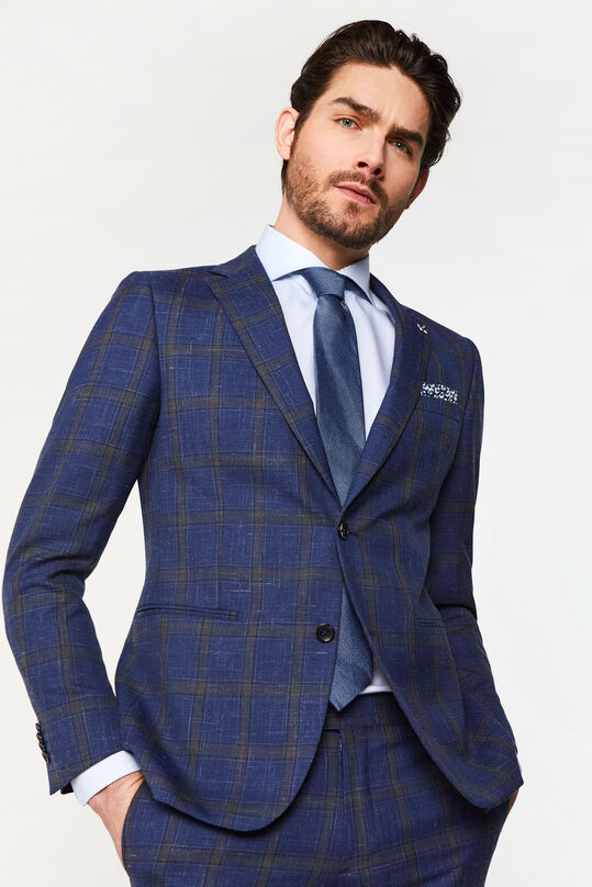 Heren slim fit geruite blazer Celso All-over print