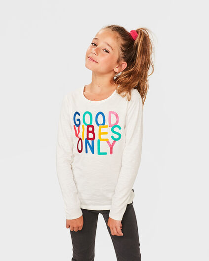 MEISJES GOOD VIBES ONLY SHIRT Wit