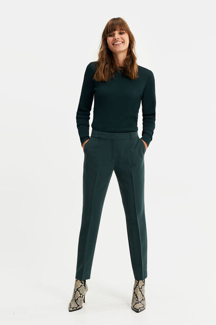 Dames regular fit pantalon met stretch Donkergroen