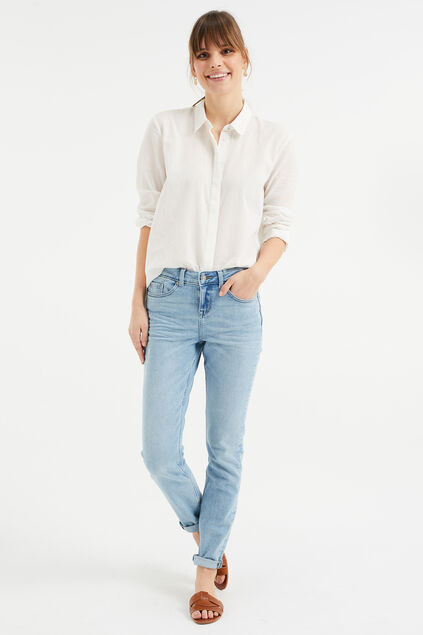Dames mid rise super skinny jeans met stretch Lichtblauw
