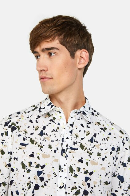 Heren regular fit overhemd met dessin All-over print