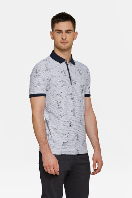 Heren bootprint polo Wit