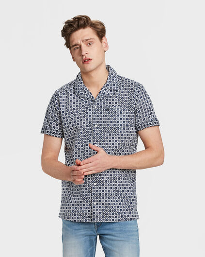 HEREN RELAXED FIT PRINT OVERHEMD Marineblauw