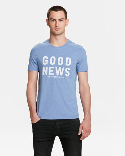 HEREN GOOD NEWS PRINT T-SHIRT Grijsblauw