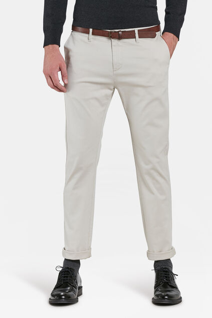 HEREN SKINNY FIT CHINO Gebroken wit