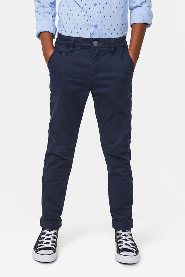 Jongens skinny fit chino Marineblauw