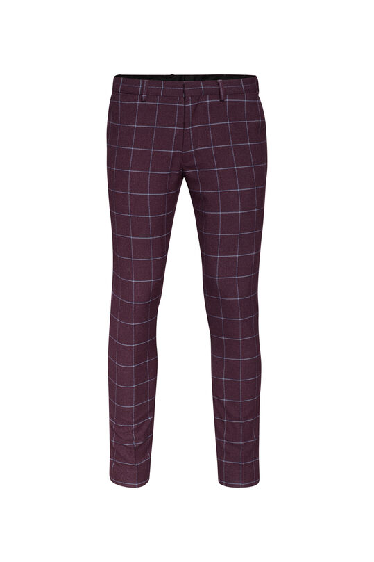Heren skinny fit pantalon Winslow Bordeauxrood