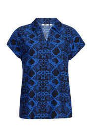 Dames slangenprint top_Dames slangenprint top, Kobaltblauw