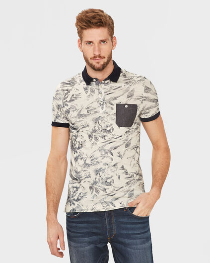 HEREN ONE-POCKET PRINT POLOSHIRT Gebroken wit