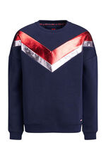 Meisjes sweater met metallic colourblocking Donkerblauw