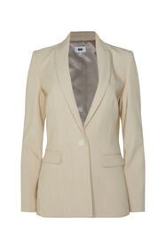 Dames regular fit gemêleerde blazer_Dames regular fit gemêleerde blazer, Beige