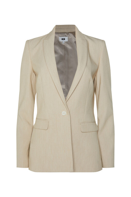 Dames regular fit gemêleerde blazer Beige