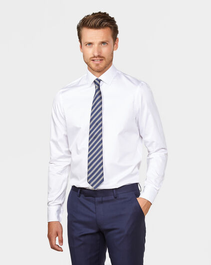 HEREN SLIM FIT FINE COTTON TWILL OVERHEMD Wit