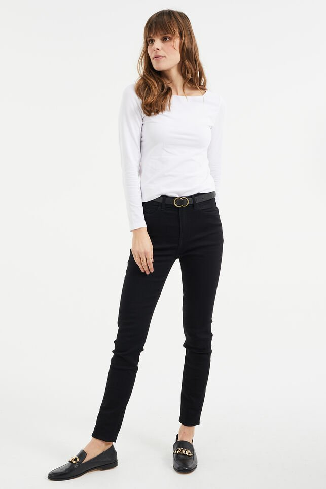 Dames high rise skinny jeans met stretch Zwart