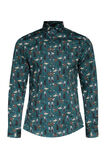 Heren slim fit dessin overhemd, All-over print