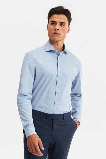 Heren slim fit overhemd Lichtblauw