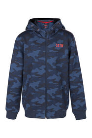 Jongens camouflage capuchonvest_Jongens camouflage capuchonvest, Donkerblauw