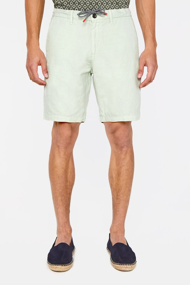 Heren regular fit chinoshort van linnen Mintgroen