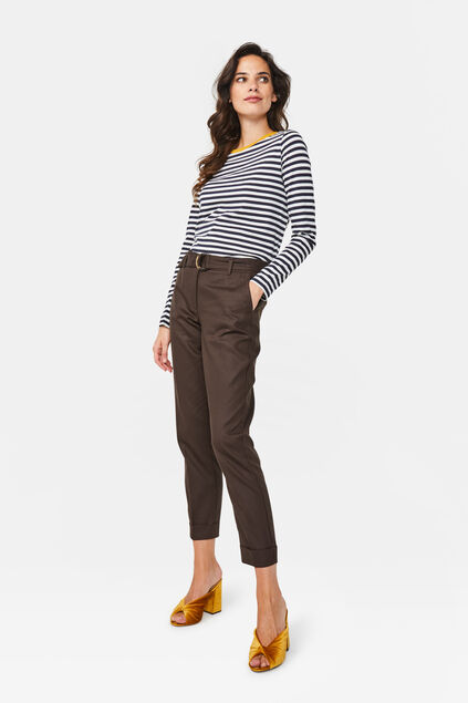 Dames cropped pantalon Donkerbruin