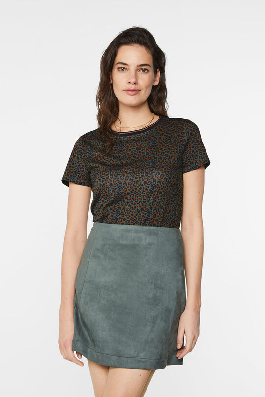 Dames T-shirt met dessin en glitterdetail All-over print