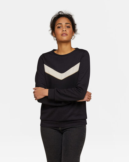 Dames lurexdetail sweater Zwart