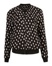DAMES GRAPHIC PRINT BOMBER JACKET, Zwart