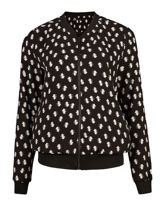 DAMES GRAPHIC PRINT BOMBER JACKET Zwart