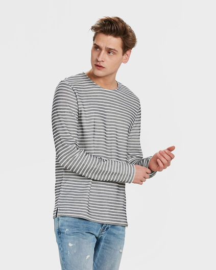HEREN STRIPED SWEATER Marineblauw