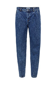 Dames high rise tapered jeans_Dames high rise tapered jeans, Donkerblauw