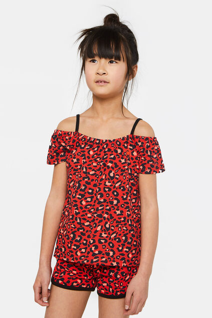 Meisjes off-shoulder top met dessin All-over print