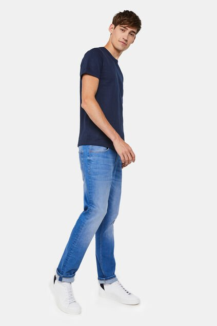 Heren regular fit jeans met super stretch Blauw