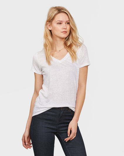 DAMES V-NECK LINEN T-SHIRT Wit