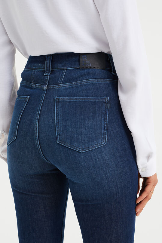 Dames high rise skinny jeans met '4 ways stretch' Donkerblauw