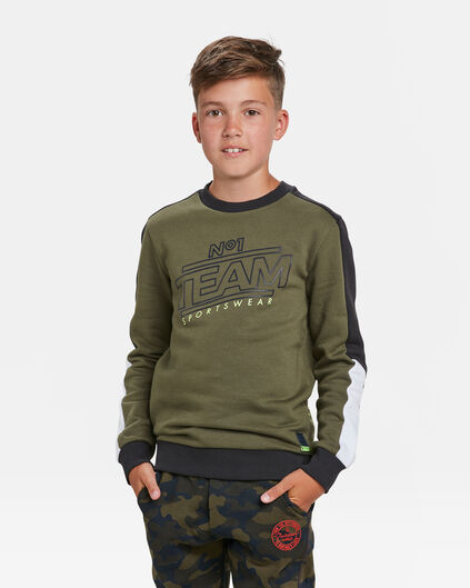 JONGENS TEAM PRINT SWEATER Legergroen