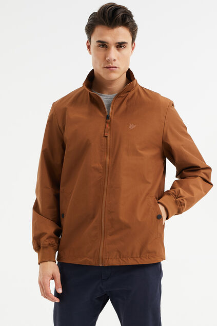 Heren slim fit Harrington jacket Roestbruin