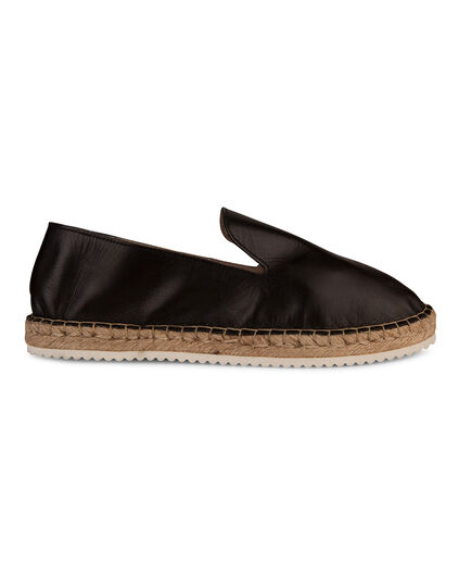 DAMES REAL LEATHER ESPADRILLES Zwart
