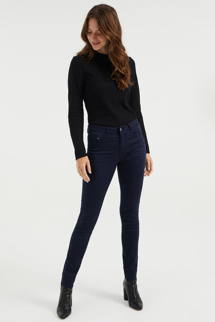 Dames mid rise skinny jeans met stretch Donkerblauw
