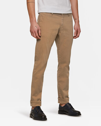 Heren slim tapered selvedge chino Beige